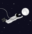 astronaut in space reach the moon and space vector image