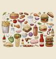 big fast food elements on light background hand vector image vector image