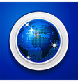 Blue world globe on white frame vector image vector image