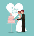 bride and groom cutting wedding cake greeting card vector image