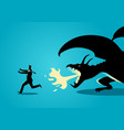 businessman running away from a dragon vector image