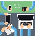 Businessmen hands with different office activities vector image vector image
