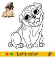 cartoon cute sitting dog pug coloring book vector image
