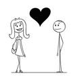 cartoon man and woman with big heart between vector image