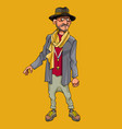 cartoon man hipster in hat and scarf vector image vector image