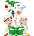 cartoon muslim kids reading book education concept vector image vector image