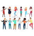 cartoon singers with microphones and vector image vector image