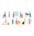 cleaner persons cleaning service workers male vector image