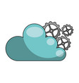 cloud computing with gear machine isolated icon vector image vector image