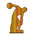 Color silhouette of discobolus sculpture with