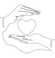 continuous line hand holding heart love concept vector image vector image