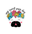 cute dog t-shirt design with slogan vector image vector image