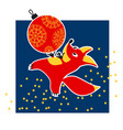 cute fox animal mascot with xmas ball vector image