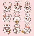 Cute rabbits icons set sweet