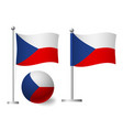 czech republic flag on pole and ball icon vector image vector image