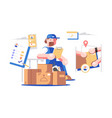 delivery man at work vector image