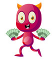 devil with money on white background vector image vector image