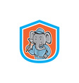 Elephant Builder Holding Hammer Crest Cartoon vector image vector image
