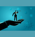 giant hand lifting up a businessman using vector image vector image