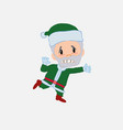 green santa claus runs alarmed vector image vector image