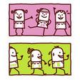 hand drawn cartoon characters - gymnastic jogging vector image vector image