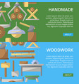 handmade woodwork posters in flat style vector image vector image