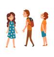 happy school children two boys and girl vector image vector image