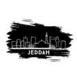 jeddah saudi arabia city skyline silhouette hand vector image