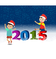 Merry christmas and Happy new year 2015 with happy vector image vector image