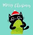 merry christmas black cat holding fir tree red vector image vector image