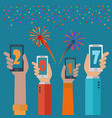 new year 2017 mobile phone apps concept vector image vector image