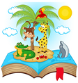 open book with island in sea vector image vector image