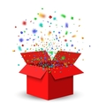 Open Red Gift Box and Confetti vector image vector image