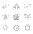 organs set icons in outline style big collection vector image