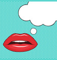 red female lips and speech bubble vector image