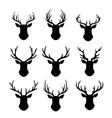 reindeers with antlers silhouette flat vector image