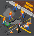 road repair isometric composition vector image vector image