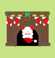 Santa Claus in fire place vector image