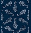 seamless pattern of white seahorse stencil vector image