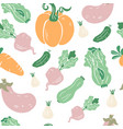 seamless pattern with hand drawn doodle vegetables vector image