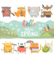 set cute animals with spring theme on white vector image vector image