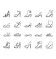 shoes simple black line icons set vector image