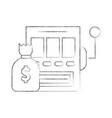 slot machine with bag money vector image