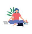 smiling girl sitting cross legged vector image vector image