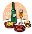 spanish appetizers and wine vector image vector image