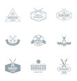 surgical process logo set simple style vector image vector image
