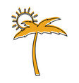 tree palm beach with sun vector image vector image