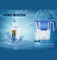 water filters realistic advertising composition vector image vector image