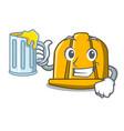 with juice construction helmet mascot cartoon vector image