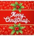 Xmas lettering and holly on red backdrop vector image vector image